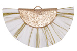 White w/ Metallic Gold Fringed Raffia Focal 45x27mm