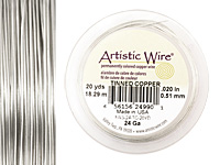 Artistic Wire Tinned Copper 24 gauge, 20 yards