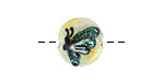 Grace Lampwork Green Sparkle Garden Butterfly Lentil 15mm