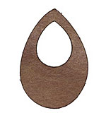 Lillypilly Golden Brown Leather Small Open Teardrop 34x50mm