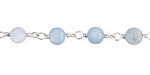 Aquamarine (matte) Round 6mm Silver Finish Bead Chain