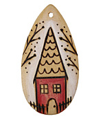 Summer Wind Art Steeple House Wood Pendant 29x54mm