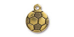 TierraCast Antique Gold (plated) Soccer Ball Charm 15.5x19mm
