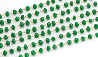 Parrot Green Crystal 3mm Delicate Brass Bead Chain