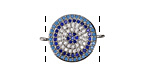 Clear Waters Mix Pave CZ Rhodium (plated) Coin Focal Link 22x16mm