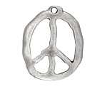 Greek Pewter Peace Sign Pendant 27x34mm