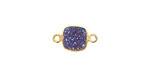 Druzy (metallic blue) Square Link in Gold Vermeil 15x9mm