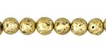 Metallic Gold (plated) Lava Rock Round 8mm
