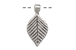 Greek Pewter Small Linear Leaf Drop 14x29mm