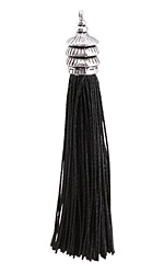 Zola Elements Jet Thread Tassel w/ Antique Silver Finish Pagoda Tassel Cap 12x90mm
