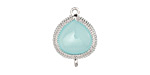 Sea Blue Opal Faceted Crystal in Silver (plated) Beaded Bezel Focal Link 20x15mm