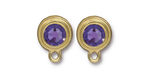 TierraCast Gold (plated) Stepped Bezel Ear Post w/ Tanzanite Crystal 12x17mm