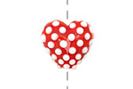 Grace Lampwork Red w/ White Dots Heart 19-20mm