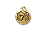 TierraCast Antique Gold (plated) Bird In A Tree Pendant 16x20mm