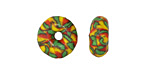 African Recycled Seed Bead Green, Red & Yellow Donut 4-6x17-20mm