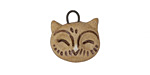 Gaea Ceramic Tan Owl Charm 16x13mm