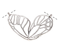 Zola Elements Antique Silver Finish Openwork Butterfly Wing Focal Link 49x27mm