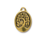 TierraCast Antique Gold (plated) Bird In A Tree Drop 18x26mm