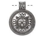 Zola Elements Antique Silver (plated) Bali Style Domed Cross Pendant 31x40mm