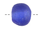 African Recycled Glass Cobalt Tumbled Rondelle 19-22x25-27mm