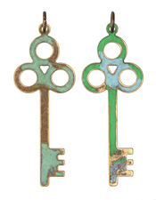 Vintaj Vogue Natural Brass Primitive Keys 24x67.5mm