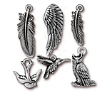 TierraCast Antique Silver (plated) Feathered Friends Charm Set