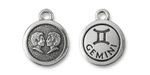 TierraCast Antique Silver (plated) Round Gemini Charm 15x18mm