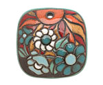 Golem Studio Summer Evening Carved Ceramic Square Pendant 35mm