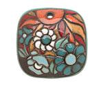Golem Studio Summer Evening Carved Ceramic Square Pendant 35mm