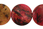 Red Turtle Jasper Puff Coin 25mm