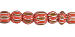 Nepalese Glass Pumpkin Spice Patterned Round Beads 9-12mm