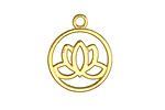 Gold (plated) Openwork Lotus Charm 20x24mm