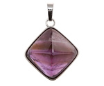 Dogtooth Amethyst Diamond Pyramid Focal in Silver Finish Bezel 27x38mm