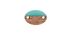 Wood & Green Turquoise Resin Oval Focal Link 15x10mm