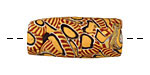 African Trade Bead (orange w/ navy swirl) Tube 32-35mm