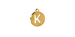 """Gold (plated) Stainless Steel Initial Coin Charm """"K"""" 10x12mm"""