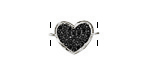 Jet Pave CZ Rhodium (plated) Heart Focal Link 18x12mm