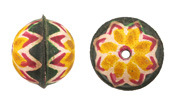Hand Painted Yellow & Pink Dahlia Leather Round Bead 20-22mm
