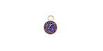 Metallic Solar Crystal Druzy Coin Charm in Gold Finish Bezel 7x9mm