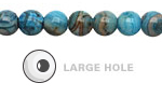 Larimar Blue Crazy Lace Agate Round (Large Hole) 8mm