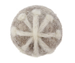 White Snowflake on Smoke Felt Round 30mm