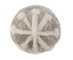 White Snowflake on Smoke Felt Round 30mm