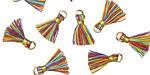 Rainbow w/ Gold Binding & Jump Ring Tiny Thread Tassel 12mm