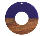 Walnut Wood & Indigo Resin Donut Focal 45mm