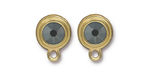 TierraCast Gold (plated) Stepped Bezel Ear Post w/ Jet Hematite Crystal 12x17mm