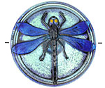 Czech Glass Iridescent Peridot w/ Blue Dragonfly Button 41mm