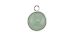 Green Aventurine Coin Focal w/ Silver Finish 13x17mm