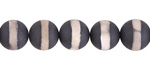 Tibetan (Dzi) Agate Matte Black & White Banded Round 10mm
