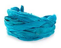 Turquoise 100% Silk Sari Ribbon