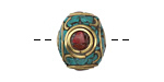 Tibetan Brass Rondelle w/ Turquoise & Coral Mosaic 15x17mm